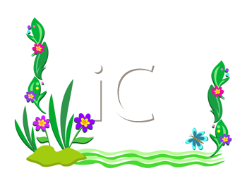 Royalty Free Clipart Image of a Flowers, Plants and Green Waves