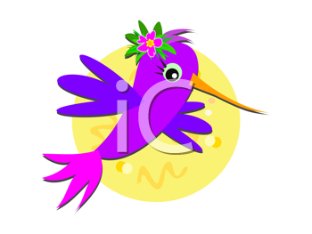 Royalty Free Clipart Image of a Purple Hummingbird