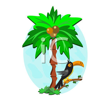 Royalty Free Clipart Image of a Toucan in a Palm Tree