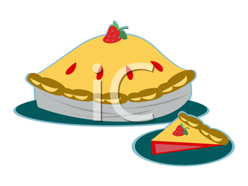 Royalty Free Clipart Image of a Strawberry Pie