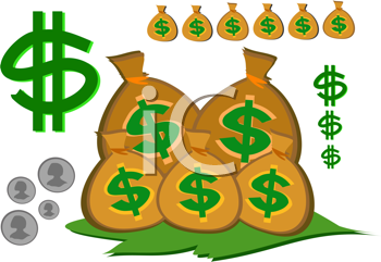 Royalty Free Clipart Image of a Money Elements
