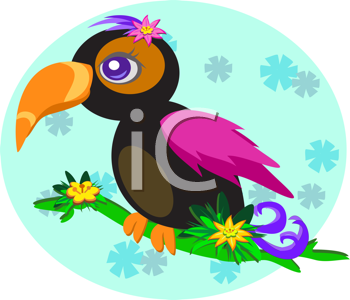 Royalty Free Clipart Image of a Toucan and Flowers