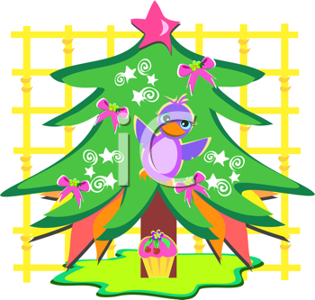 Royalty Free Clipart Image of a Christmas Tree With a Bird