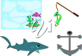 Royalty Free Clipart Image of a Fish, a Worm, a Shark and an Anchor