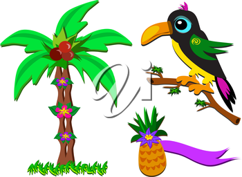 Royalty Free Clipart Image of a Toucan, a Palm Tree and a Pineapple