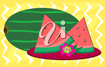 Royalty Free Clipart Image of Watermelon on a Plate