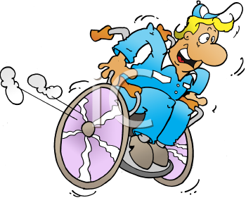 Royalty Free Clipart Image of a Man in a Wheelchair