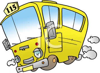 Royalty Free Clipart Image of a Yellow Bus