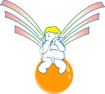 Royalty Free Clipart Image of a Cherub Angel Sitting on a Ball