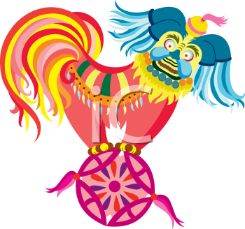 Royalty Free Clipart Image of an Oriental Heaven Dog