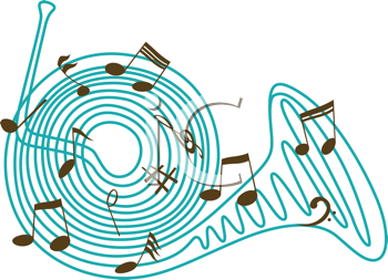 Royalty Free Clipart Image of a French Horn
