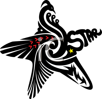Royalty Free Clipart Image of a Peacock in a Star