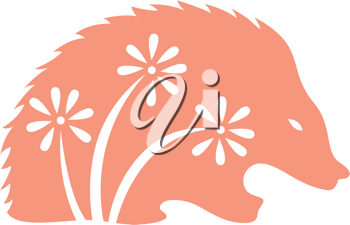 Royalty Free Clipart Image of a Porcupine With Flowers