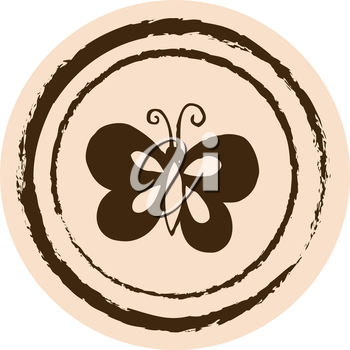 Royalty Free Clipart Image of a Butterfly on a Circle