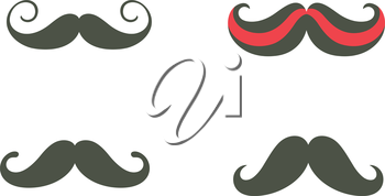 Royalty Free Clipart Image of Four Moustaches