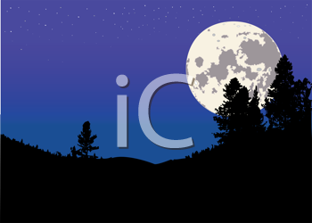 Royalty Free Clipart Image of a Night Scene
