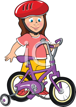 Royalty Free Clipart Image of a Little Girl Standing Beside Her Bike