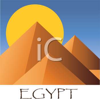 Royalty Free Clipart Image of the Egyptian Pyramids With the Sun Behind