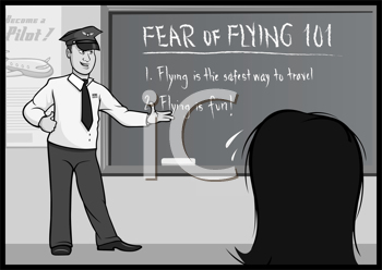 Royalty Free Clipart Image of a Fear of Flying Classroom