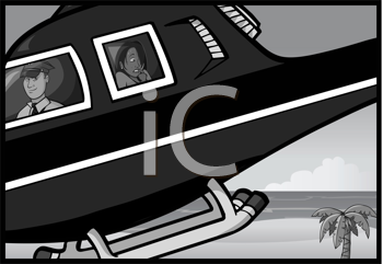 Royalty Free Clipart Image of a Helicopter Taking Off