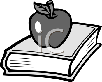 Royalty Free Clipart Image of an Apple on a School Book