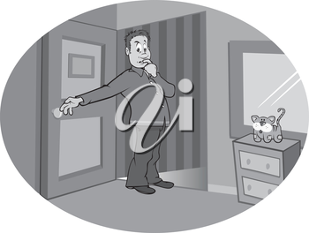 Royalty Free Clipart Image of a Guy in a Room