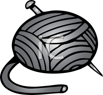 Royalty Free Clipart Image of a Yarn and Needle