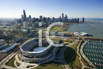 Royalty Free Photo of an Aerial View of Chicago, Illinois Skyline With Soldier Field