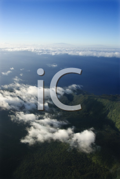 Royalty Free Photo of an Aerial View of a Mountain Landscape With Clouds on Maui, Hawaii