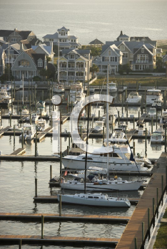Royalty Free Photo of a Marina on Bald Head Island, North Carolina