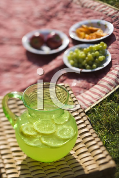 Royalty Free Photo of a Green Plastic Pitcher of Lemonade and Lemons With a Picnic Spread Out