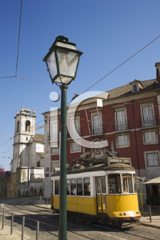 Royalty Free Photo of a Street Scene With Trolley in Lisbon, Portugal
