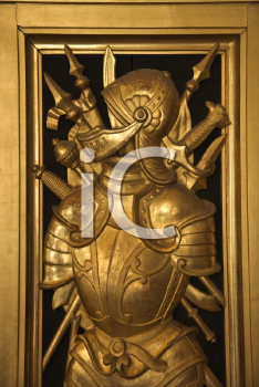 Royalty Free Photo of a Bronze Knight With Armor and Swords in the Vatican Museum, Rome, Italy