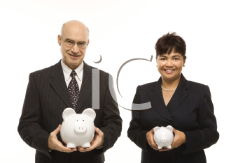 Royalty Free Photo of a Middle-Aged Businessman and Businesswoman Holding Piggybanks