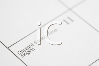 Royalty Free Photo of a Calendar Displaying Daylight Savings Time
