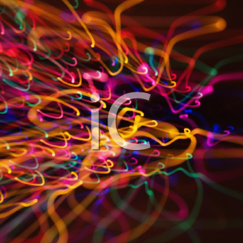 Royalty Free Photo of Multicolored Lights Forming Abstract Squiggle Pattern From a Motion Blur