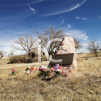 Royalty Free Photo of a Quartz Tombstone With Flowers Around it in a Cemetery