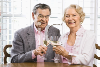 Royalty Free Photo of an Older Couple Toasting Wine Glasses