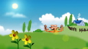 Royalty Free HD Video Clip of Teddy Bears Riding a Round-a-bout in a Country  Field