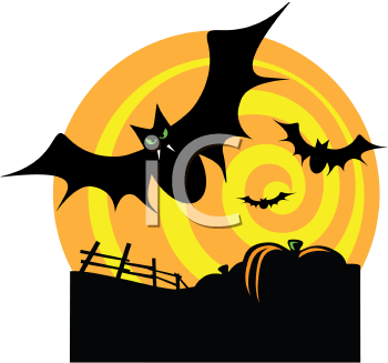 Royalty Free Clipart Image of Bats Flying Over a Pumpkin Patch
