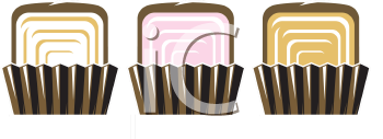 Royalty Free Clipart Image of Three Squares of Candy