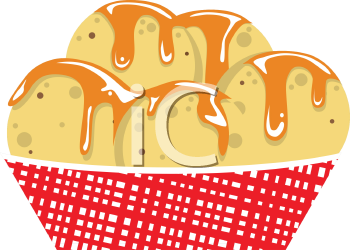 Royalty Free Clipart Image of a Container of Nachos with Cheese