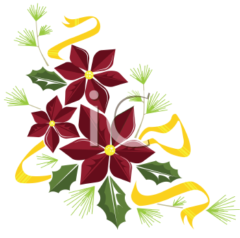 Royalty Free Clipart Image of a Poinsettia Wreath