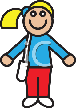 Royalty Free Clipart Image of a Girl Carrying a Book Bag