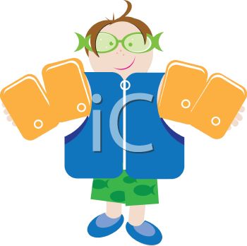 Royalty Free Clipart Image of a Boy Wearing a Life Jacket and Water Wings