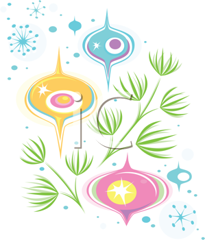 Royalty Free Clipart Image of Brightly Coloured Ornaments