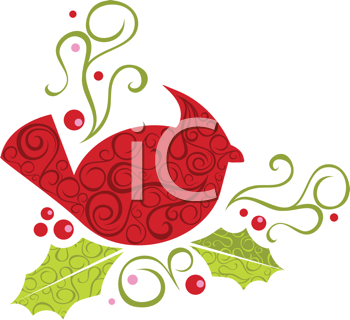 Royalty Free Clipart Image of A Christmas Cardinal In A Corner