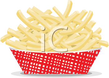 Royalty Free Clipart Image of a Dish of French Fries