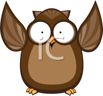 Royalty Free Clipart Image of an Owl With Its Wings Raised