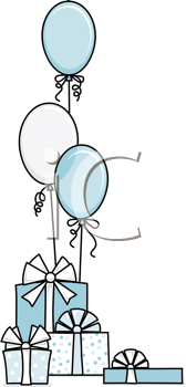 Royalty Free Clipart Image of Blue Balloons and Gifts